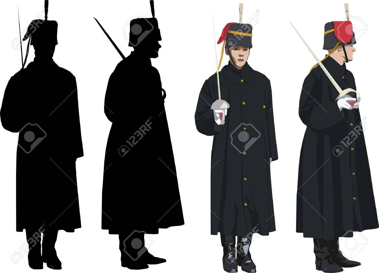 Royal Guard with sword at Buckingham palace in London. Vector illustration and silhouette Stock Vector - 2995225