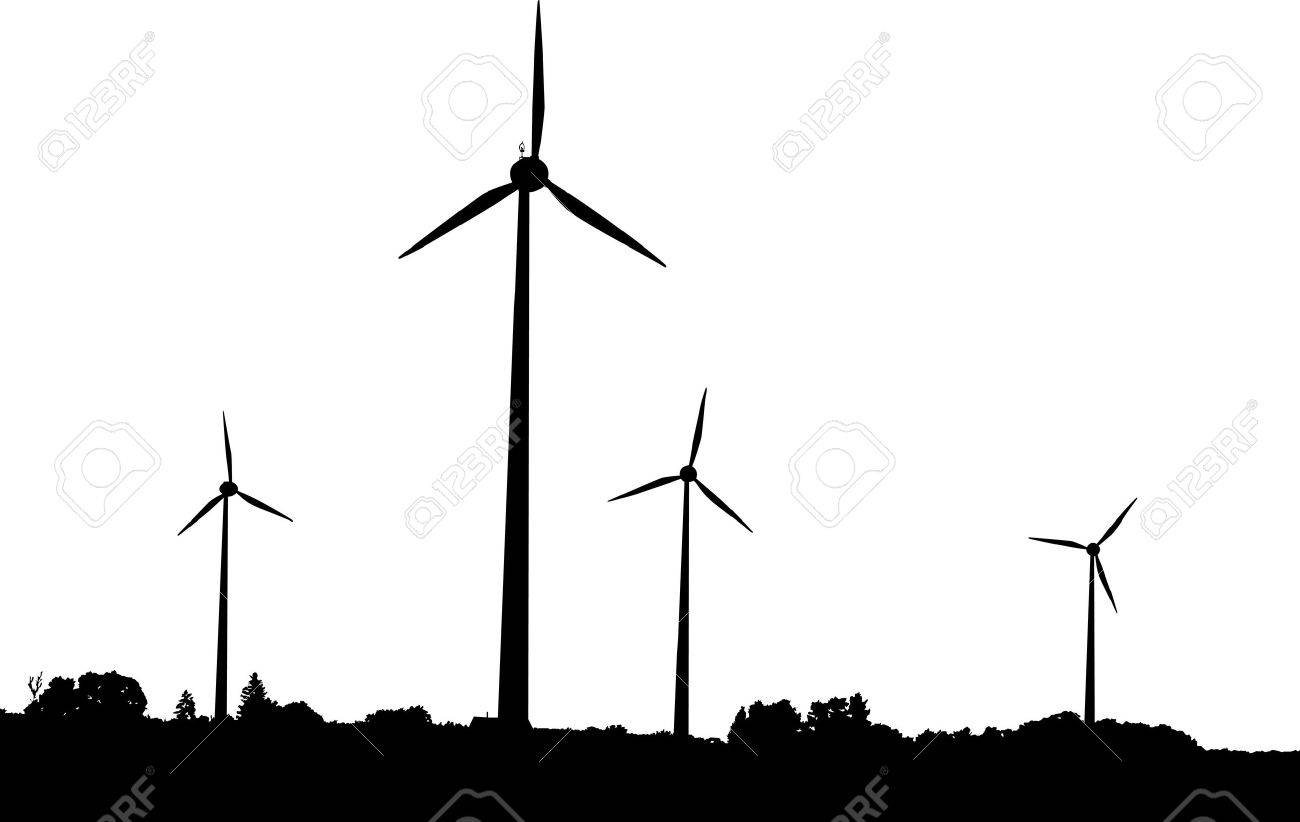 Vector silhouette of windturbines producing environment friendly energy Stock Vector - 4225632