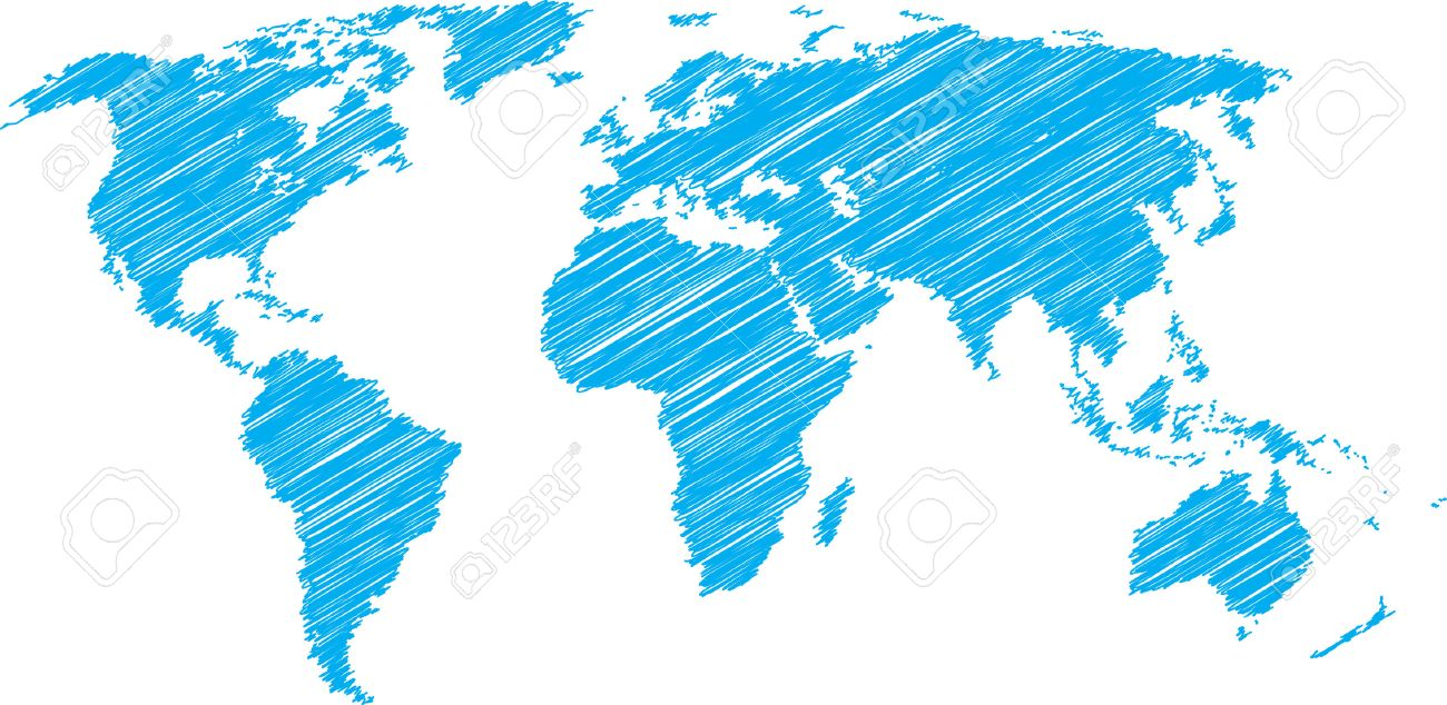 Blue vector sketch of world map royalty free cliparts vectors and blue vector sketch of world map stock vector 4682989 gumiabroncs Image collections