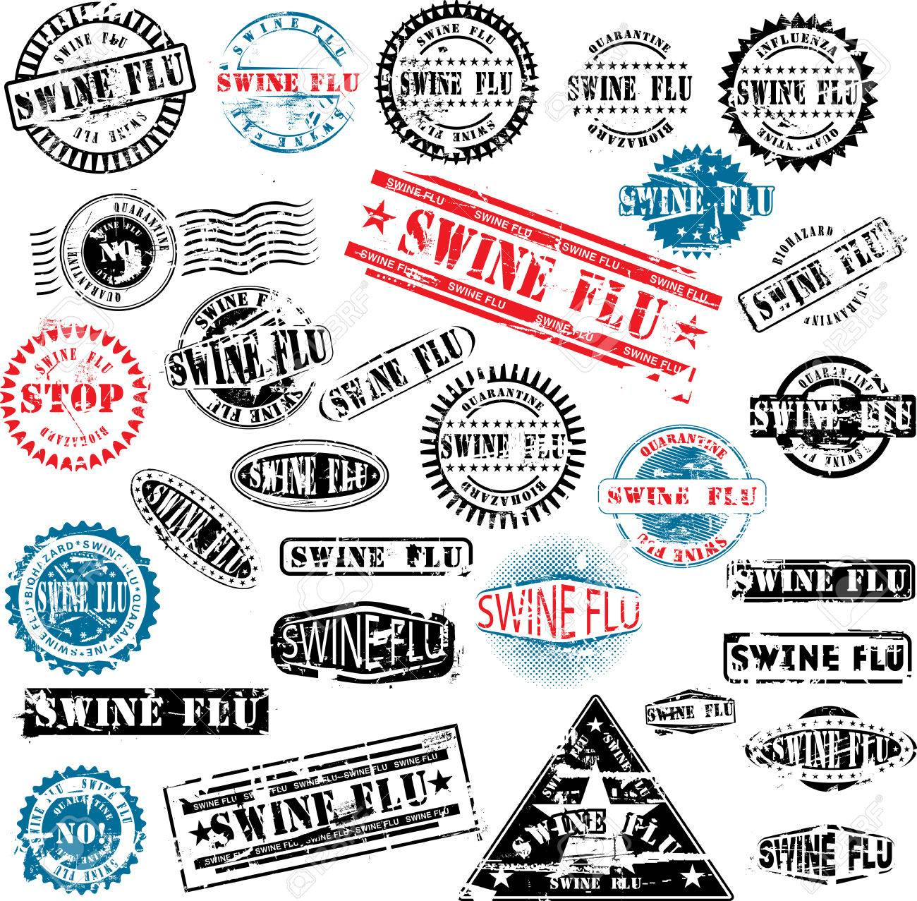 Collection of grunge rubber stamps about swine flu. See other rubber stamp collections in my portfolio. Stock Vector - 4806398