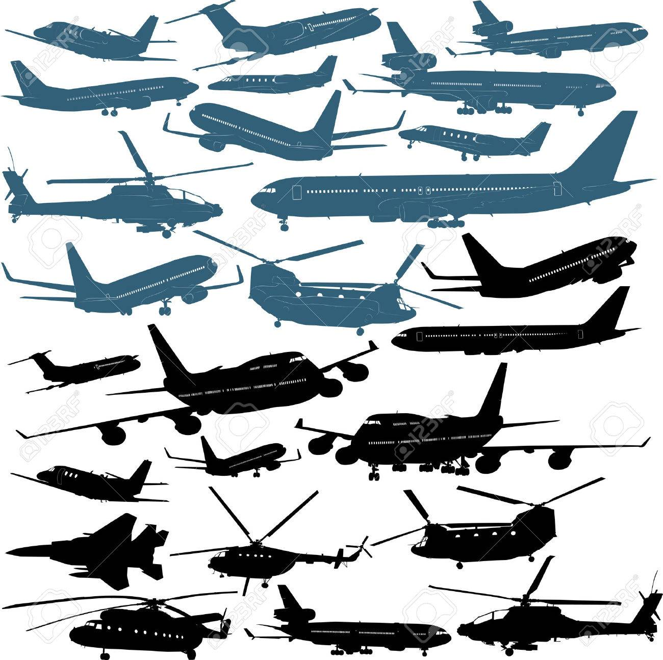 Vector illustrations of passenger airliners, military helicopters Stock Vector - 5333635