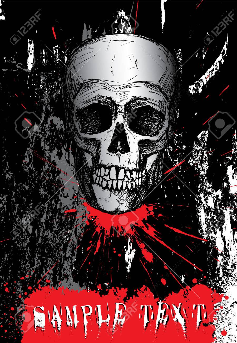Hand drawn human skull on dark grunge background Stock Vector - 5497633