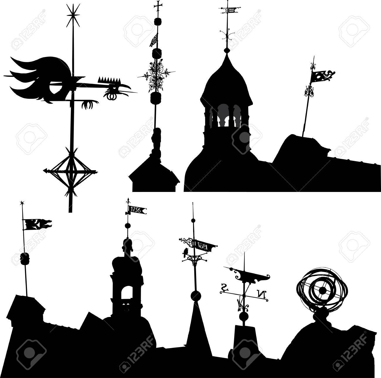 Set of vector silhouettes of weather vanes and turrets Stock Vector - 5522577