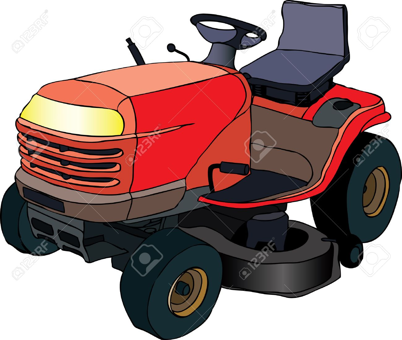 Riding Lawn Mower Illustration Illustration of Red Lawn Mower