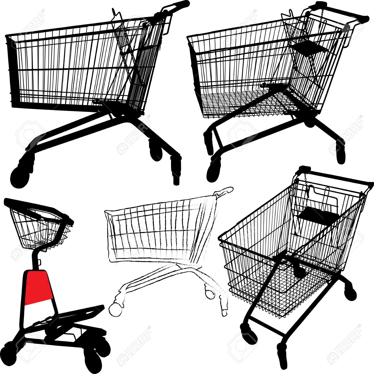 illustration of empty shopping trolley silhouettes - 5811126