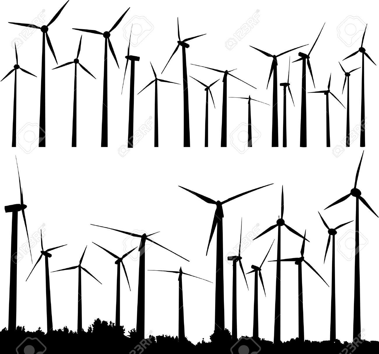 Vector Silhouette Of Wind Generators Or Turbines Royalty Free Diagram Also Power Generator Diagrams On Turbine