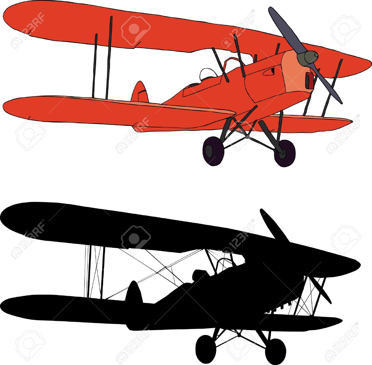 illustration and silhouette of an old biplane royalty free rh 123rf com Red Bi Plane Clip Art Free biplane clipart royalty free