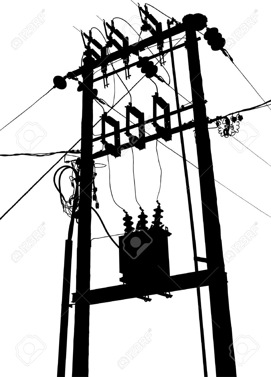 Vector silhouette of small electric transformer substation Stock Vector - 8109733