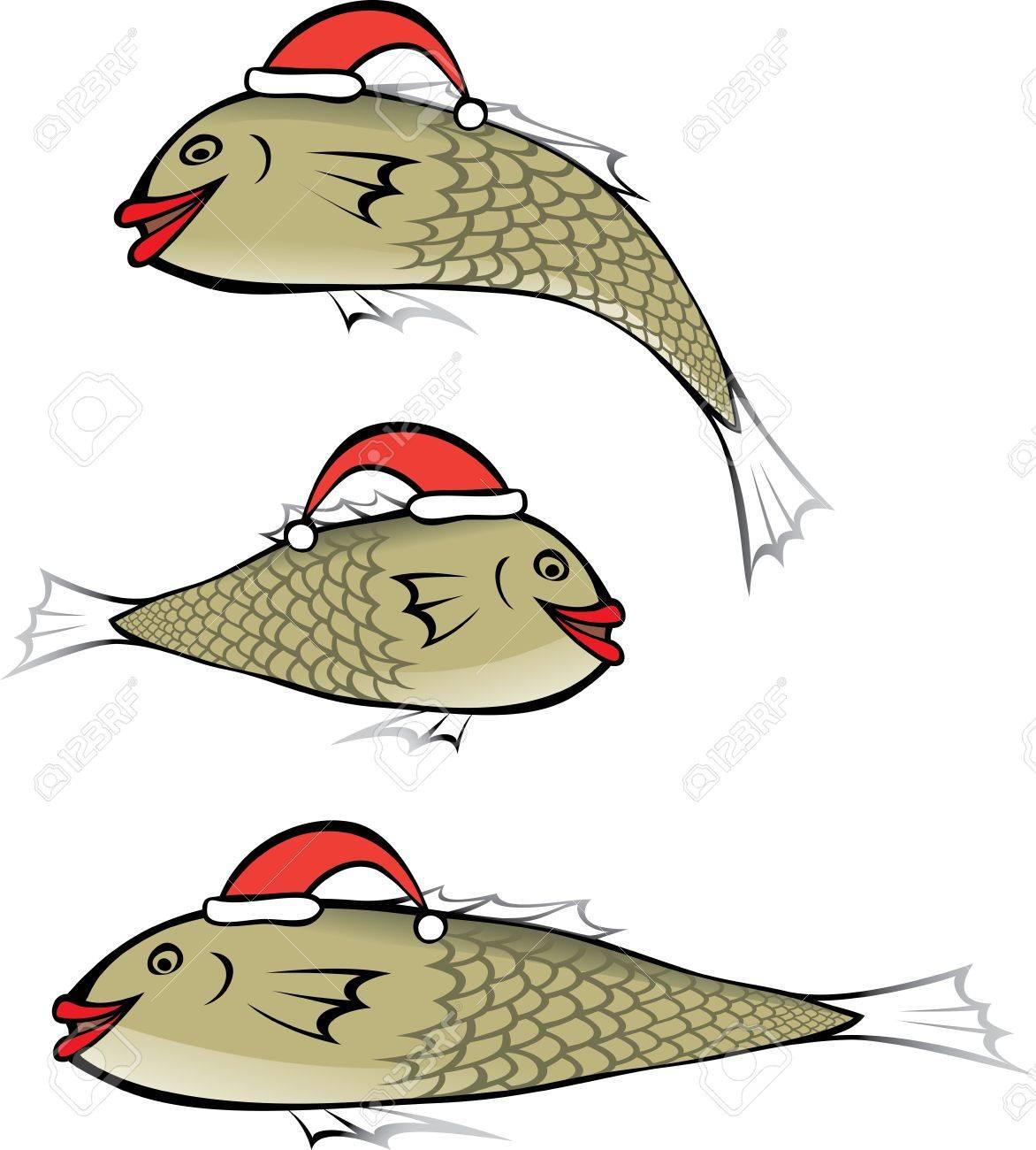 Fisch Mit Roten Lippen Das Tragen Der Mütze Weihnachten Lizenzfrei ...