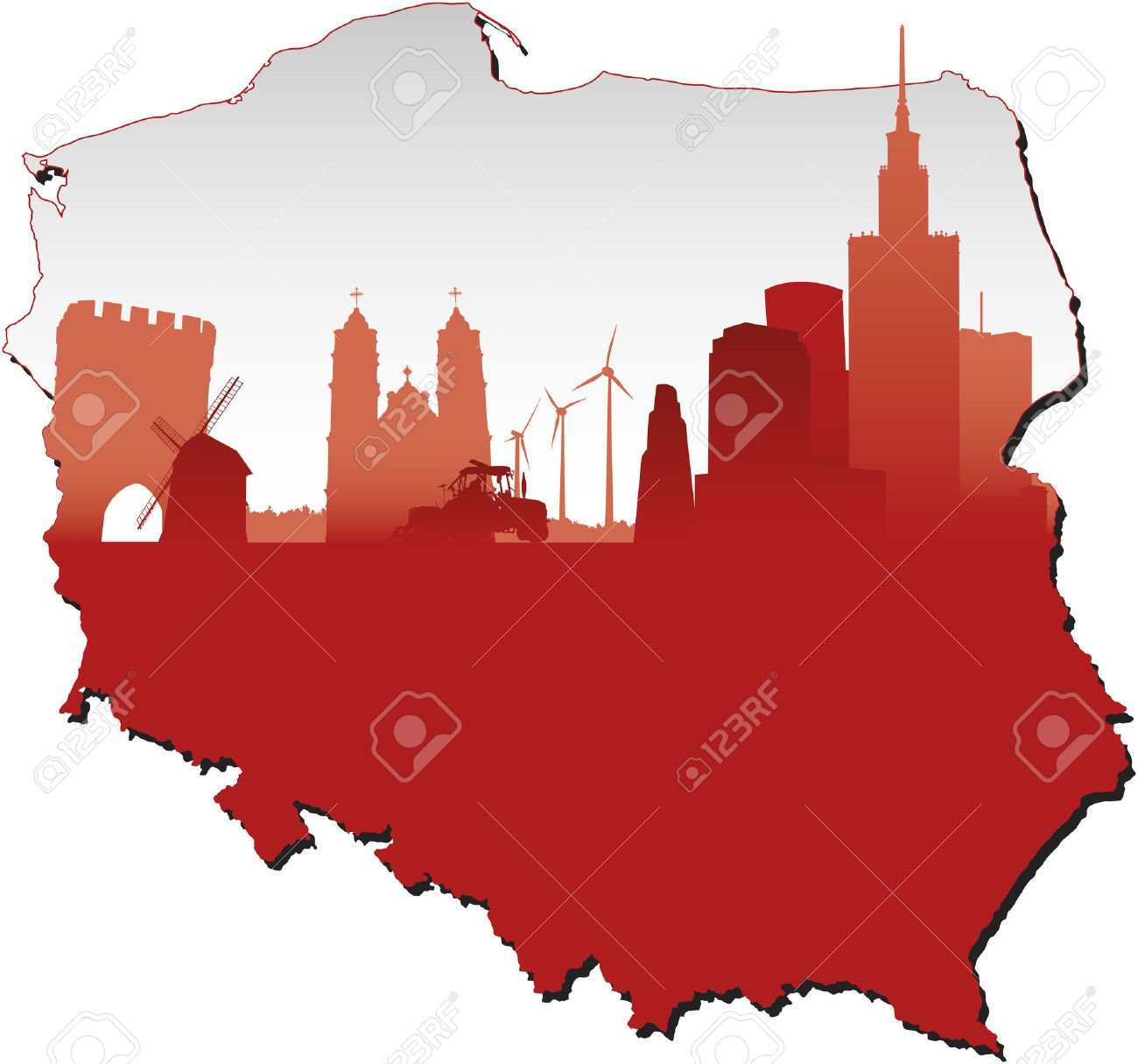 Poland Map In Flag Colours And Symbols Of Business And History ...