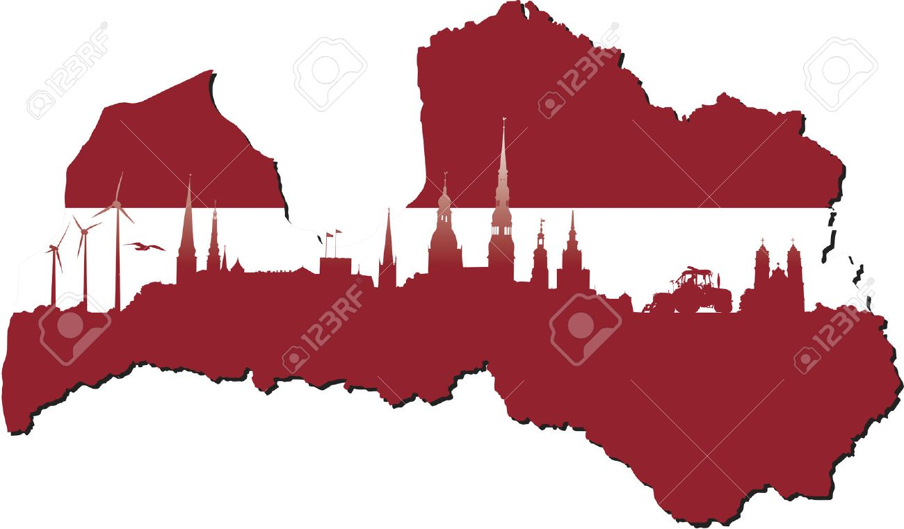 Latvia Map In Flag Colors And Symbols Of Business And History - Latvia map
