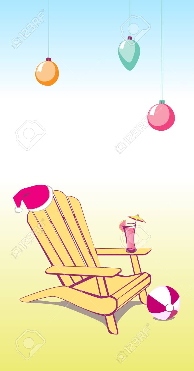 Adirondack Beach Chair With Santa Claus Hat And Drink Vector