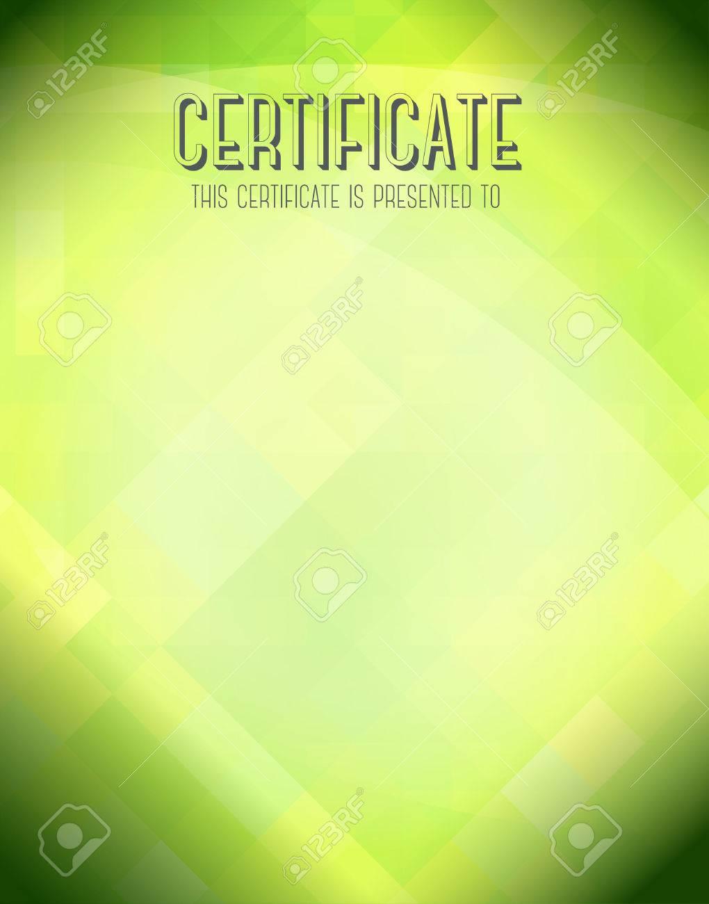 Zertifikat-Vorlage Mit Grünem Hintergrund. Lizenzfreie Fotos, Bilder ...
