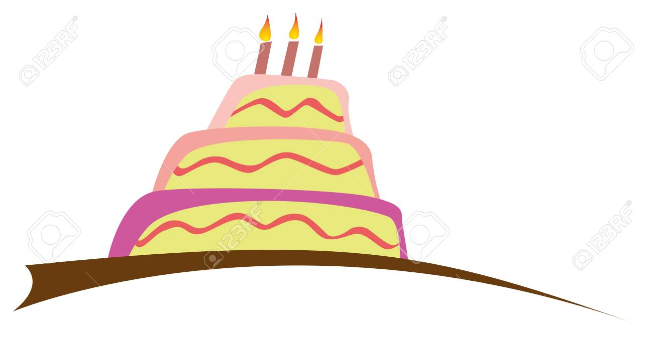 Large Birthday Cake With Three Candles Vector Illustration Stock