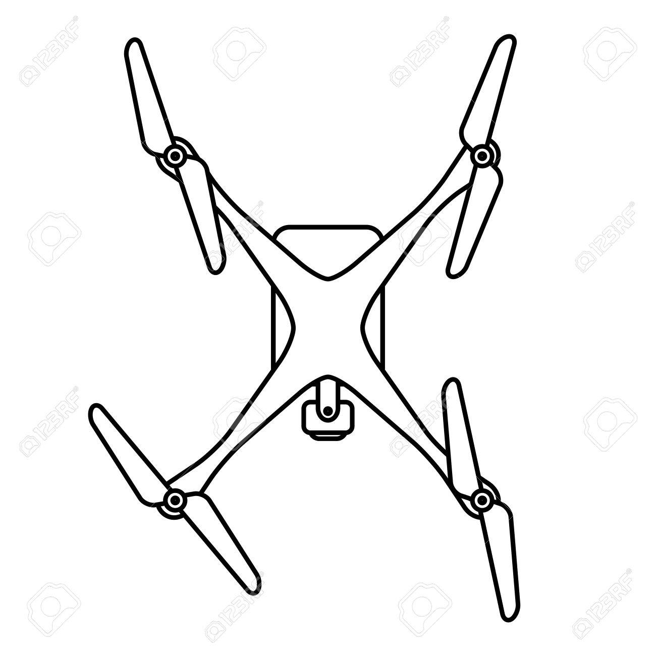 Modern Quadcopter Drone With Camera Top View Thin Line Linear Illustration Stock Vector