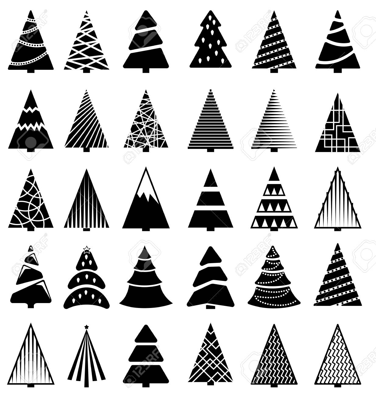 Black Christmas Tree Icon Set