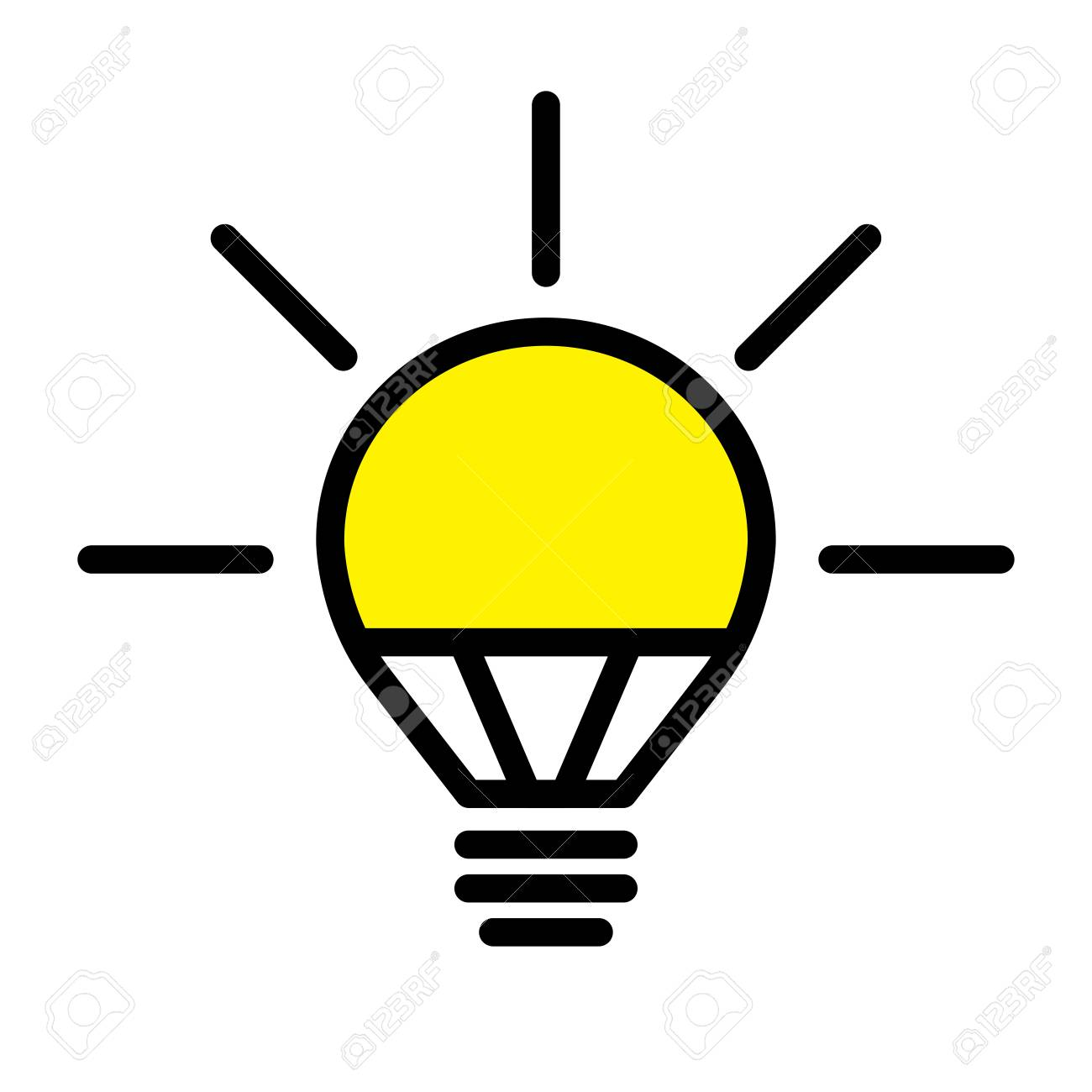 Electric LED Light Bulb Lamp. Symbol Of Bright Idea. Linear Vector ...