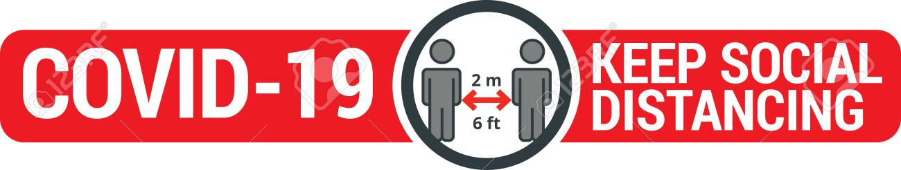 COVID-19 safety measure Keep safe social distance sign - 145893581