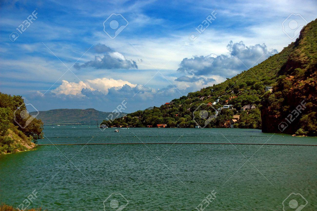 Dam lake Hartbeespoortdam. Crocodile river, near to Johannesburg, South Africa. Stock Photo - 17002219