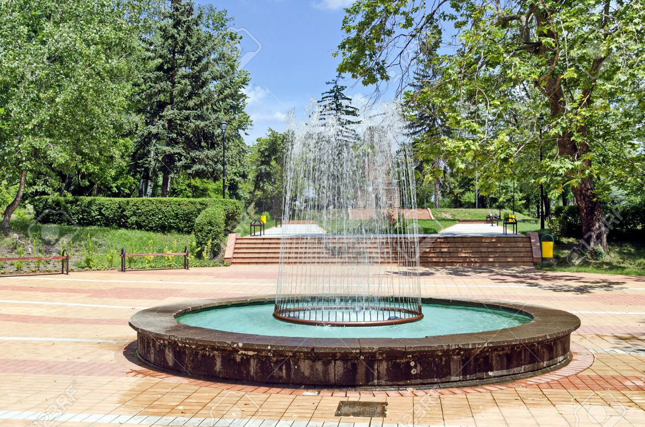 Circular Garden Fountain In Town Peshtera, Bulgaria Stock Photo   20679713