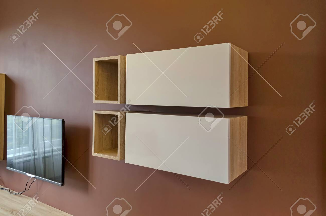 Living Room Set With Free Tv Wall In Living Room With Cupboard And Tv Set Stock Photo Picture