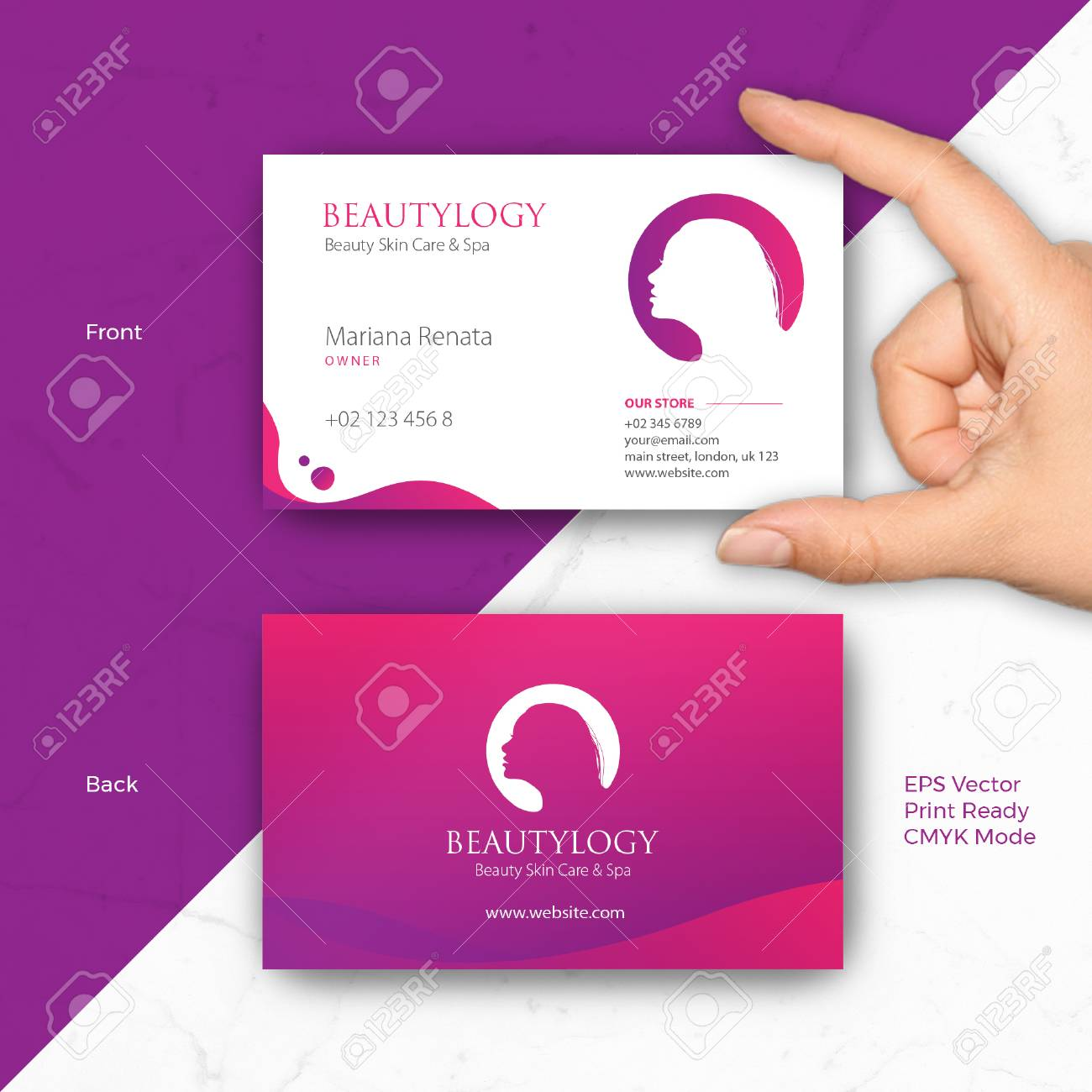 Business Card Vector Template Fit To Any Business Woman Beauty