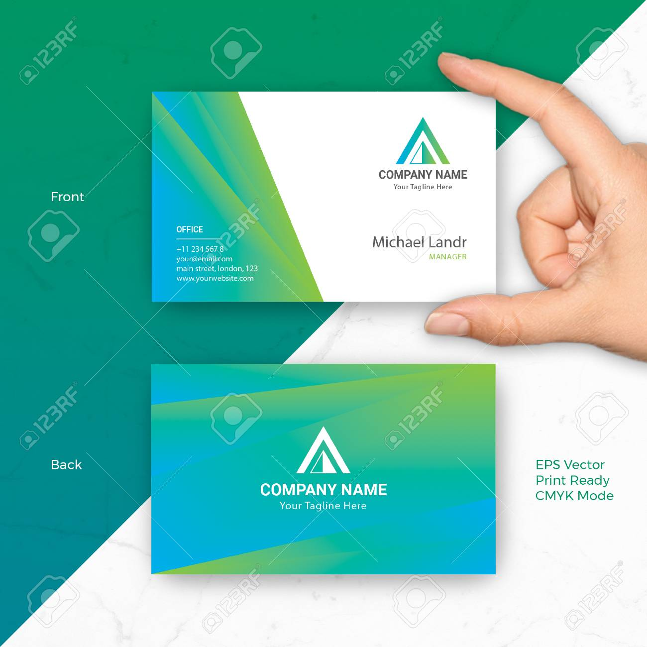 Blue Green Business Card Vector Template Fit For Startup, Modern ...