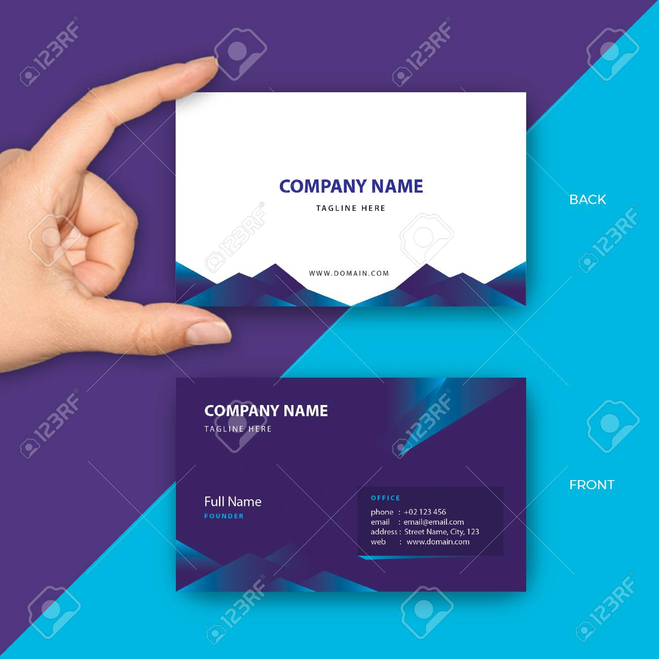 Luxury Purple Business Card Vector Template Fit For Modern Company ...