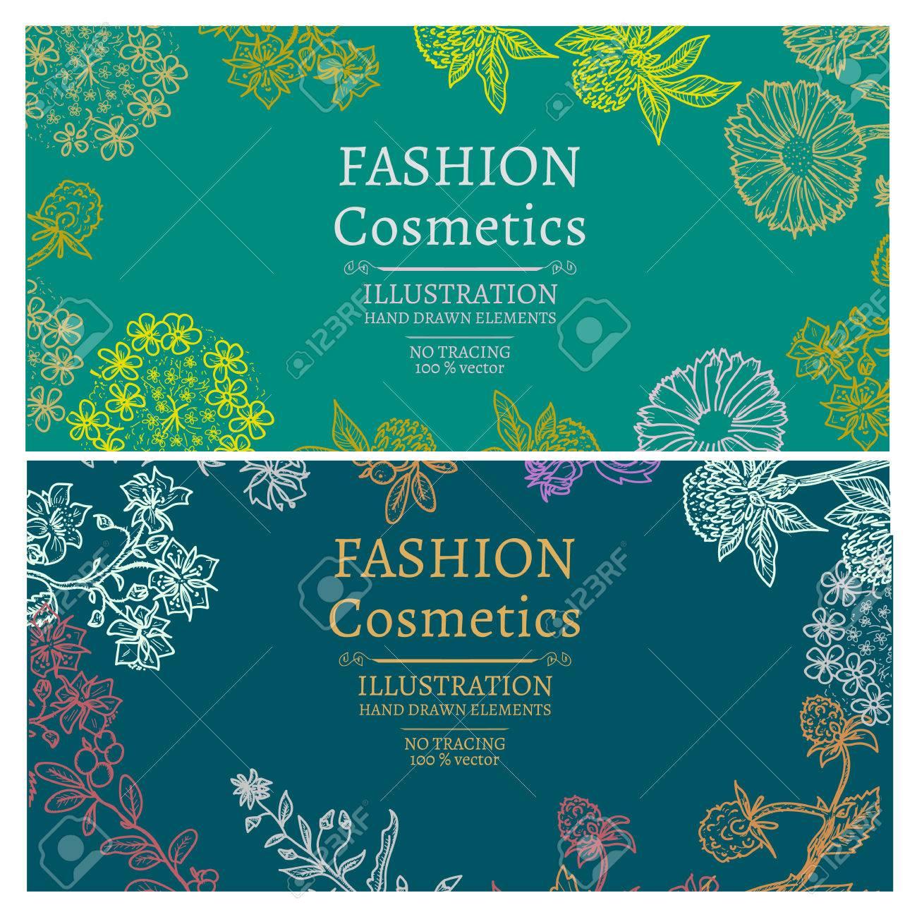 Fashion cosmetics banners hand drawn vintage sketch vector illustration - 54301970