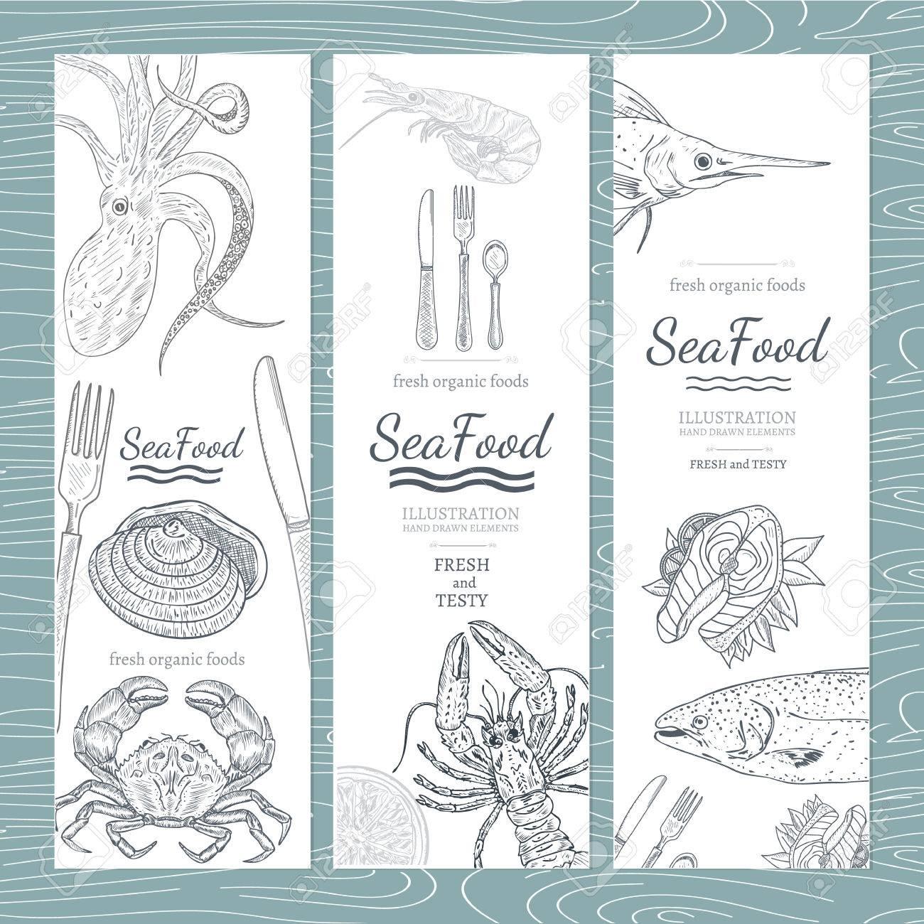 Sea food banner hand drawn vector - 55822417