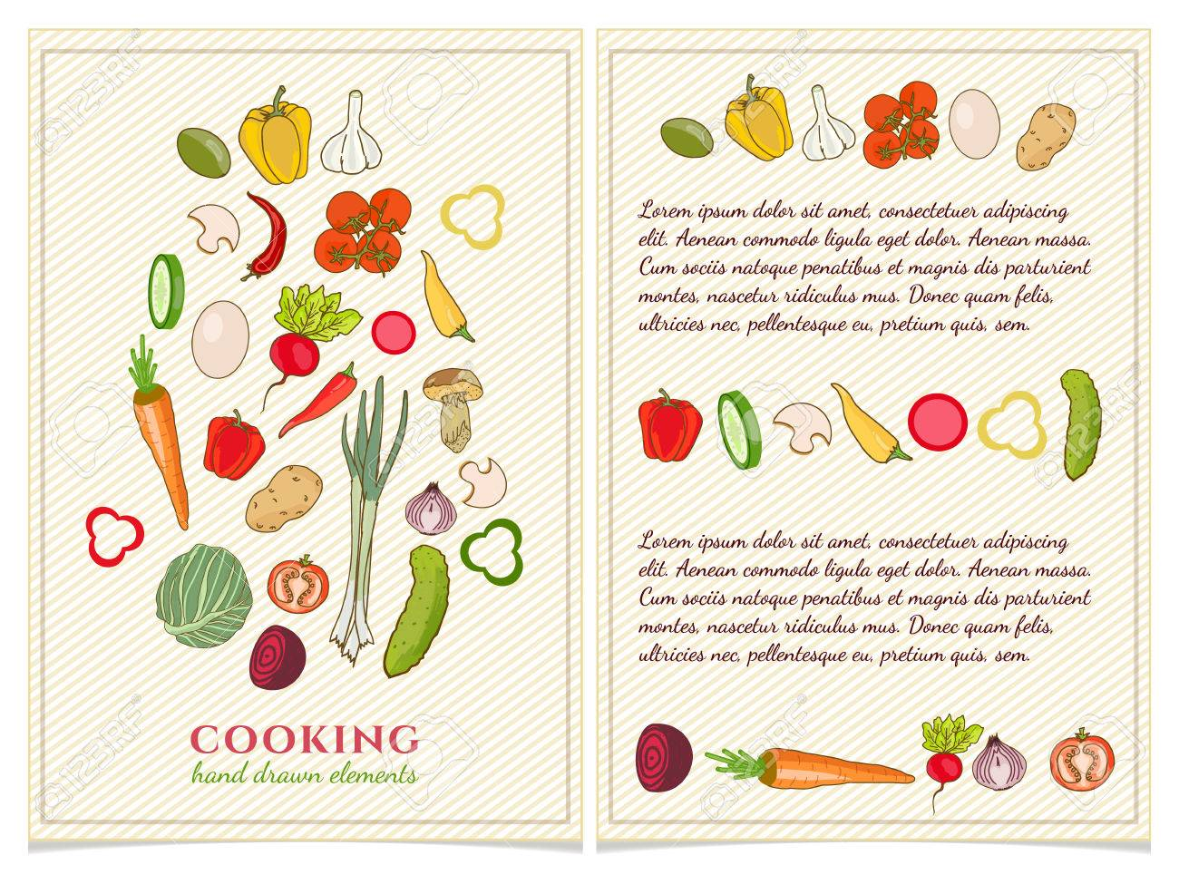 Cookbook Template Hand Drawn Elements Vector Stock Vector   55822480