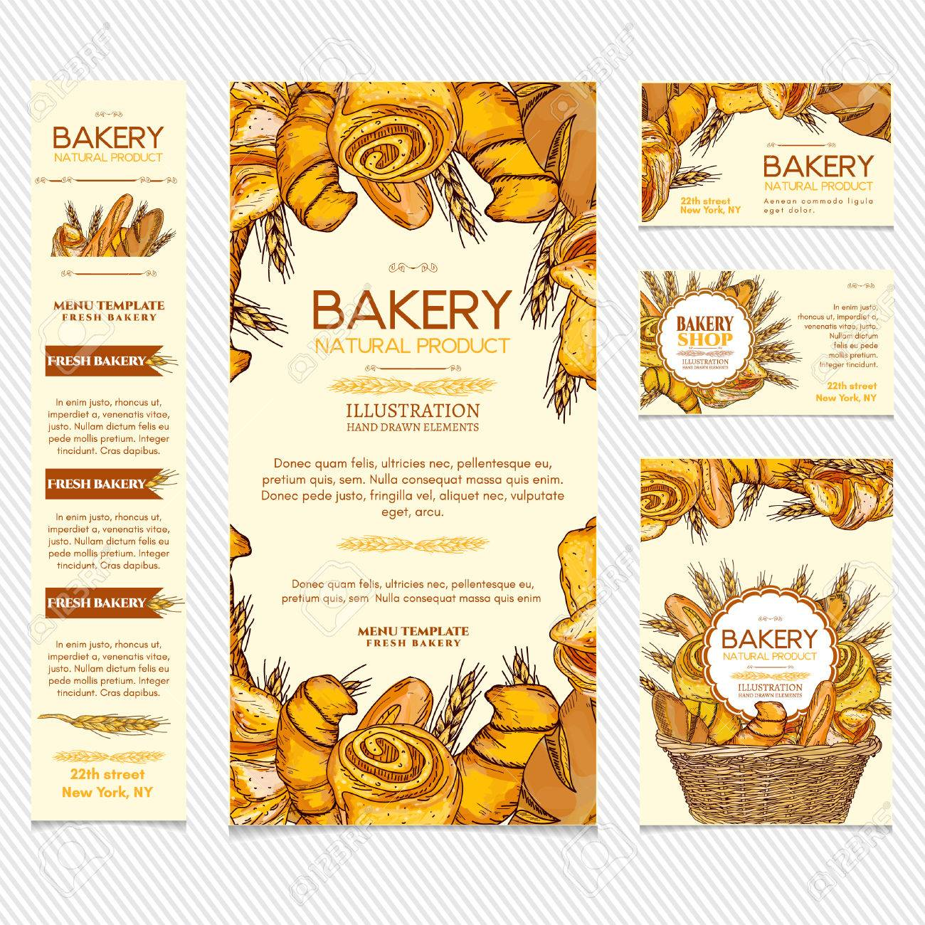 Bakery products restaurant menu template business card, page template vector illustration - 55822520