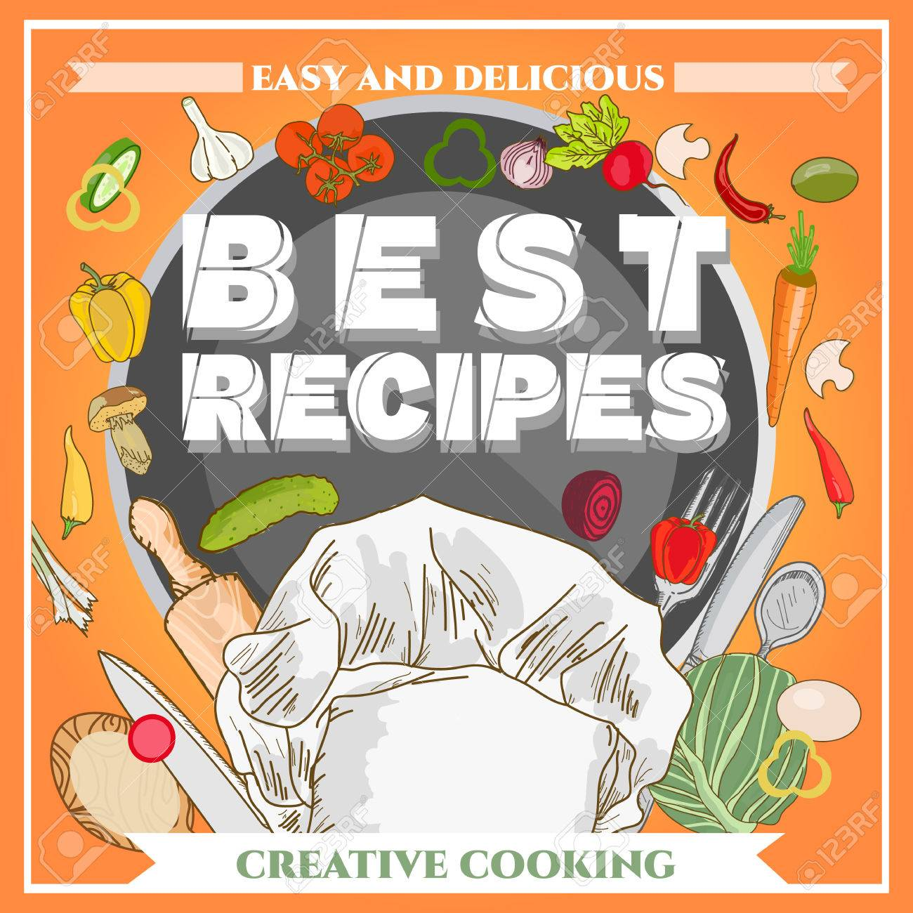 Best Recipe Poster Template Cookbook Cookery Book Hand Drawn