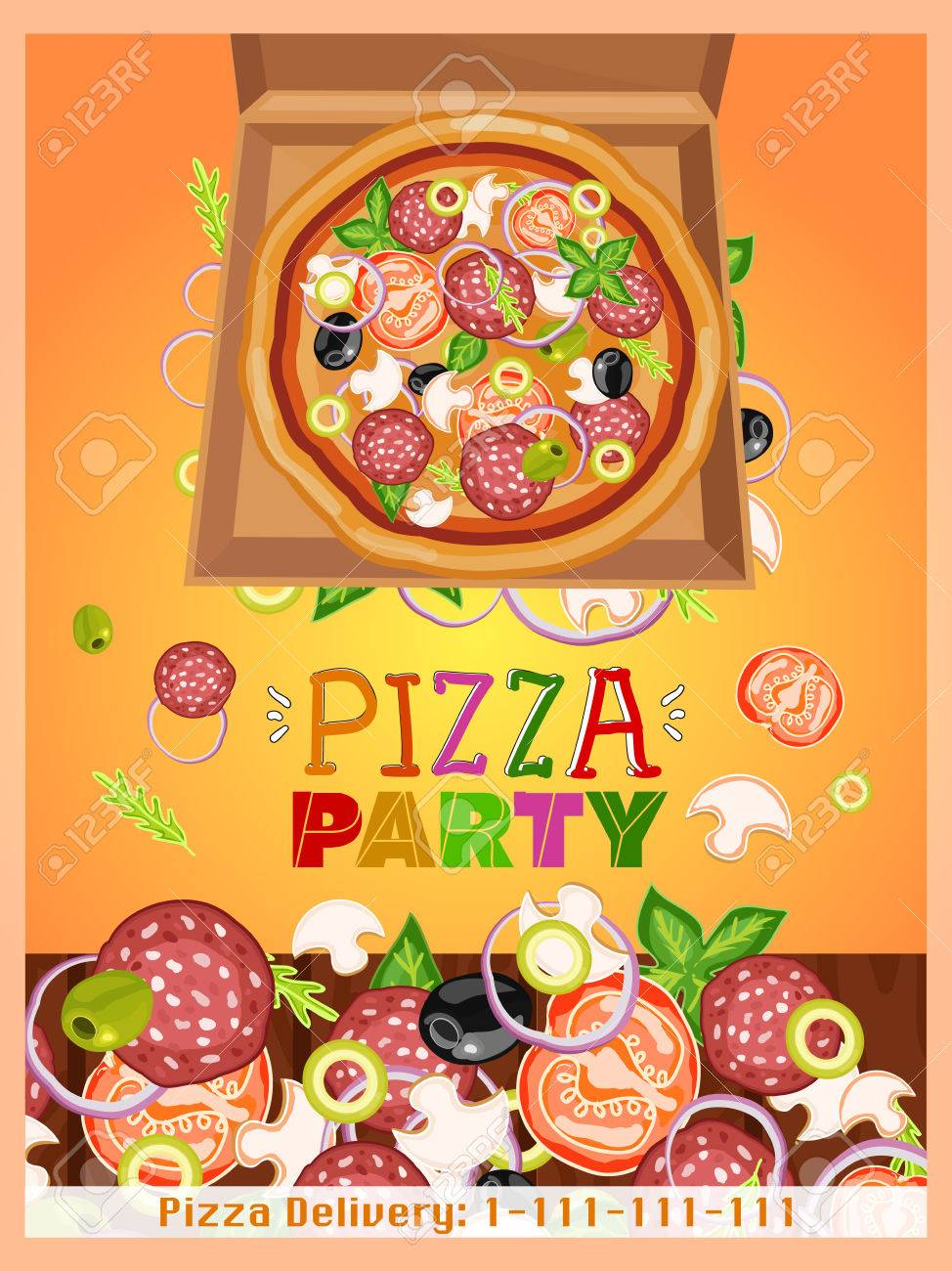 pizza party template fresh ingredients for pizza design template hand drawn vector illustration stock vector