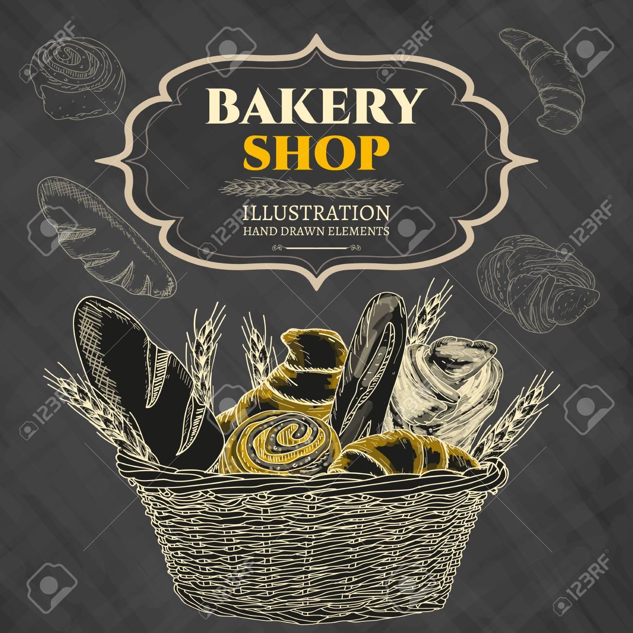 Bakery shop. Bakery basket. Blackboard. Vector illustration - 55822553