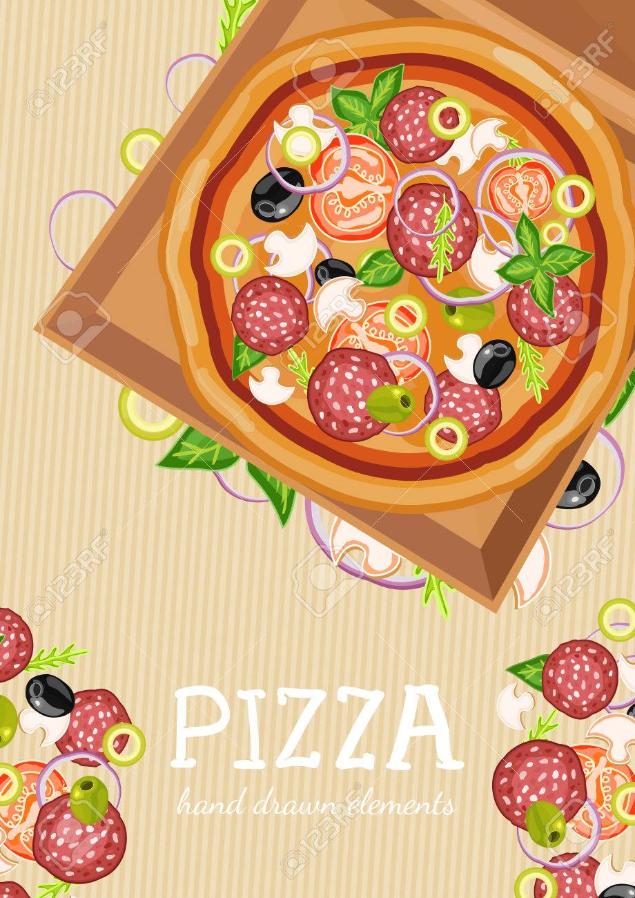 pizza party fresh ingredients for pizza template hand drawn vector illustration stock vector 55822562