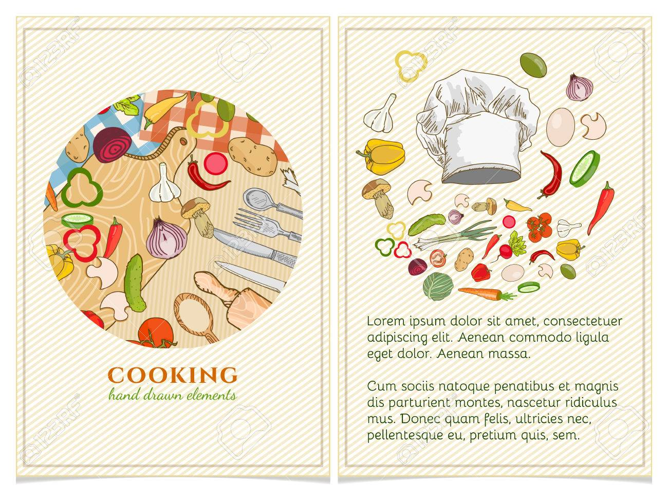 Cooking Cookbook Template Hand Drawn Elements. Vector Illustration Stock  Vector   55822569