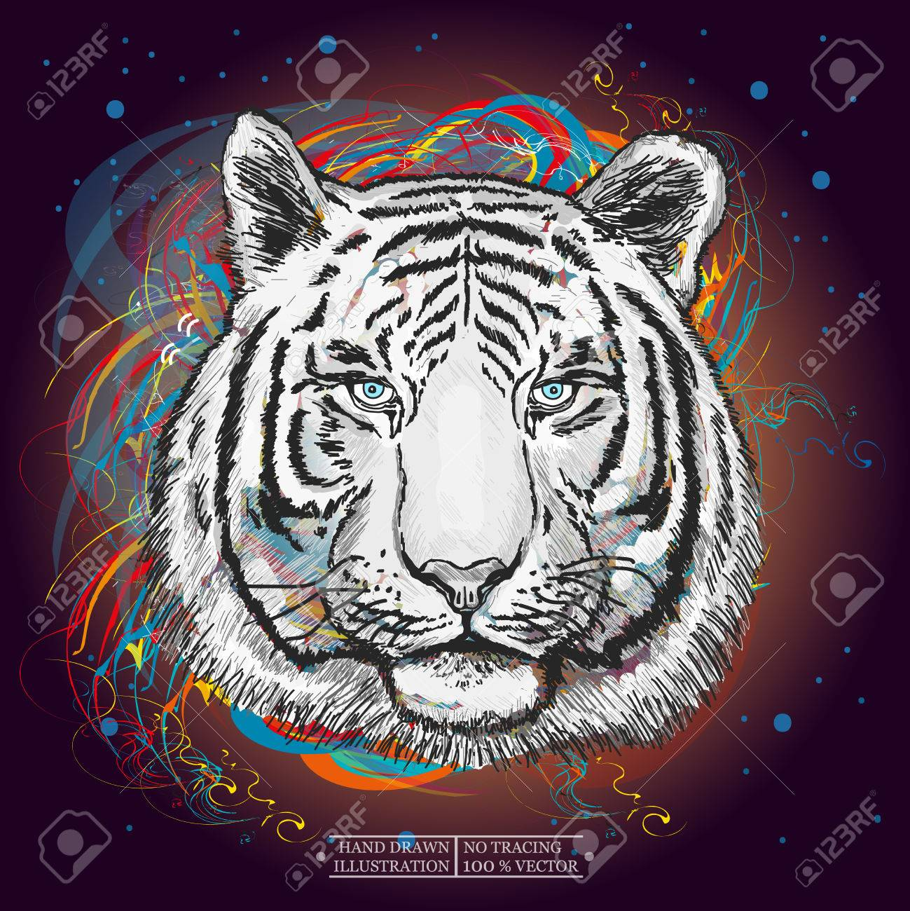 White tiger in outer space art print hand drawn animal illustration - 57464511