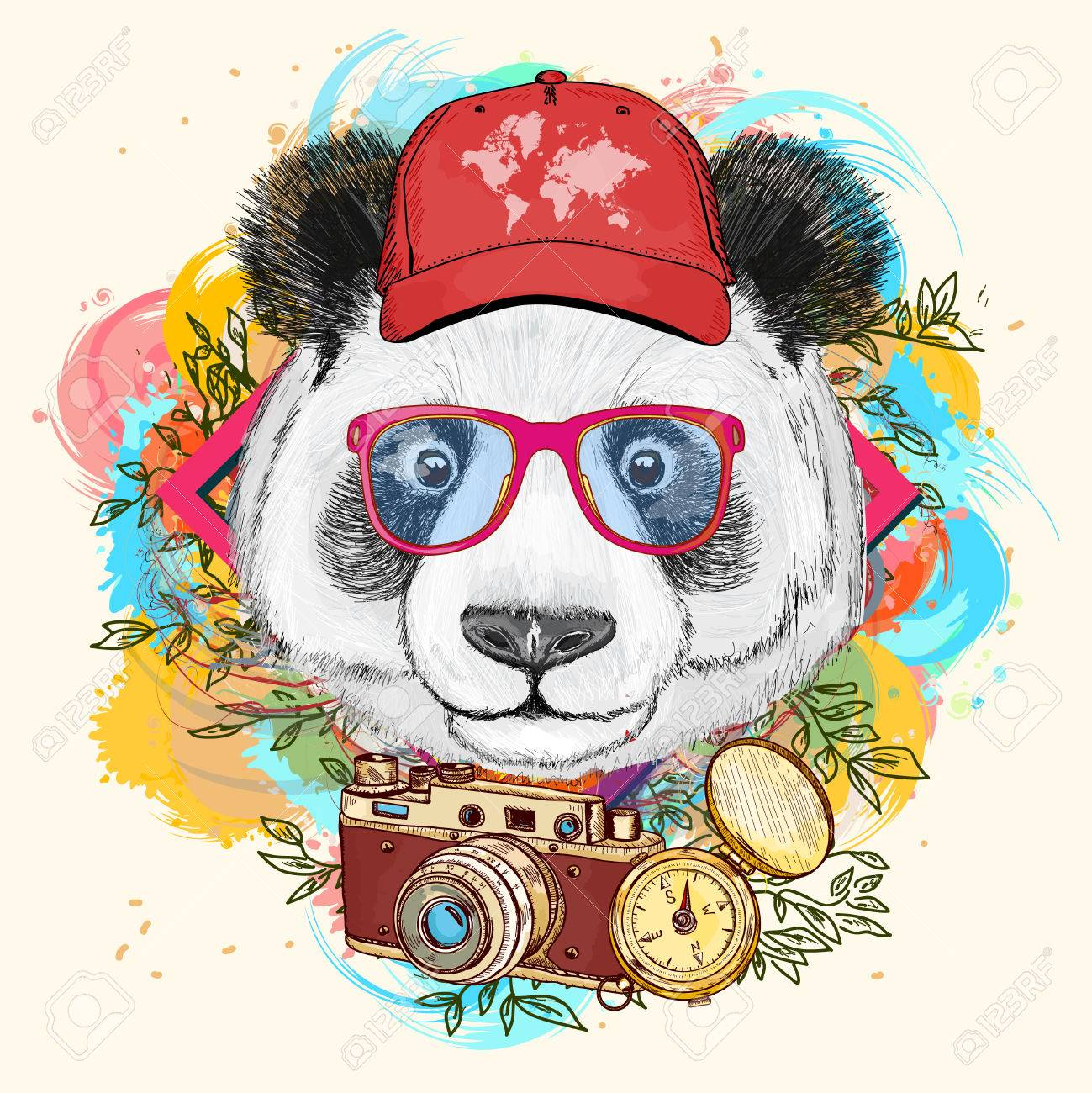 Panda hipster art print hand drawn animal illustration - 57464939