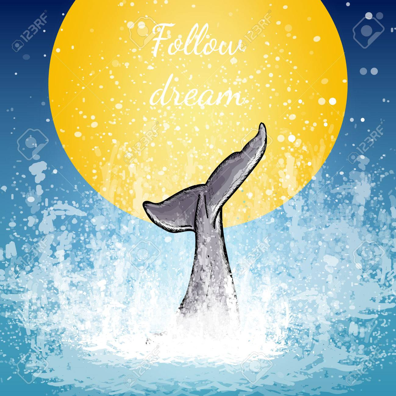 Tail of the whale art, whale dives into the water background of the moon follow dream poster vector - 59654559