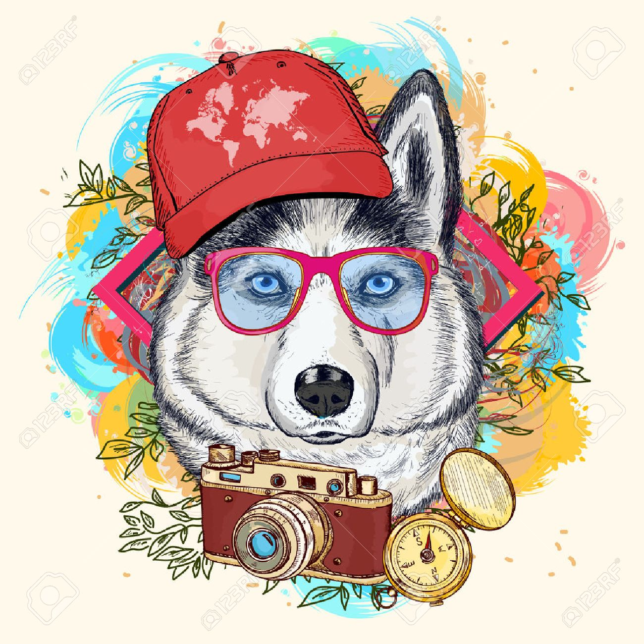 Husky hipster art print hand drawn animal illustration Standard-Bild - 59648866