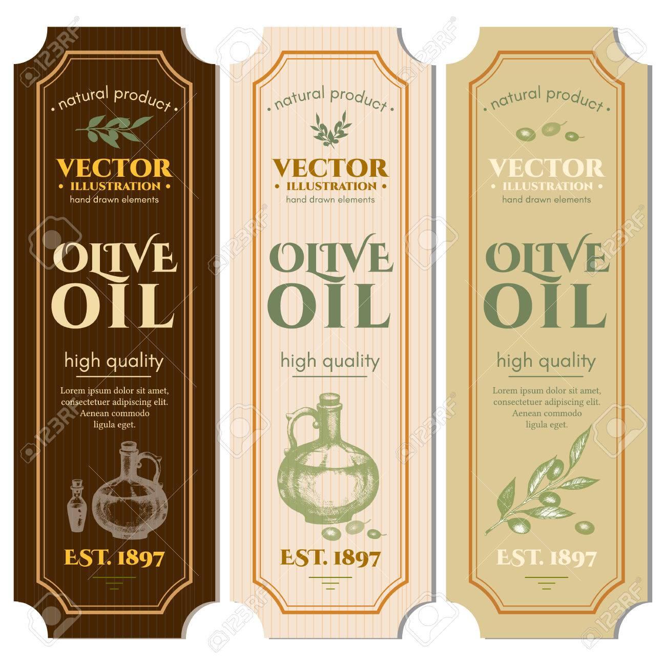 Labels olive oils hand drawn ink vector - 61054623