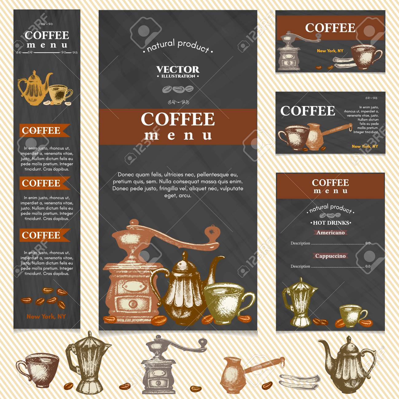 Coffee Restaurant Menu Template Business Card Page Vector Illustration Stock