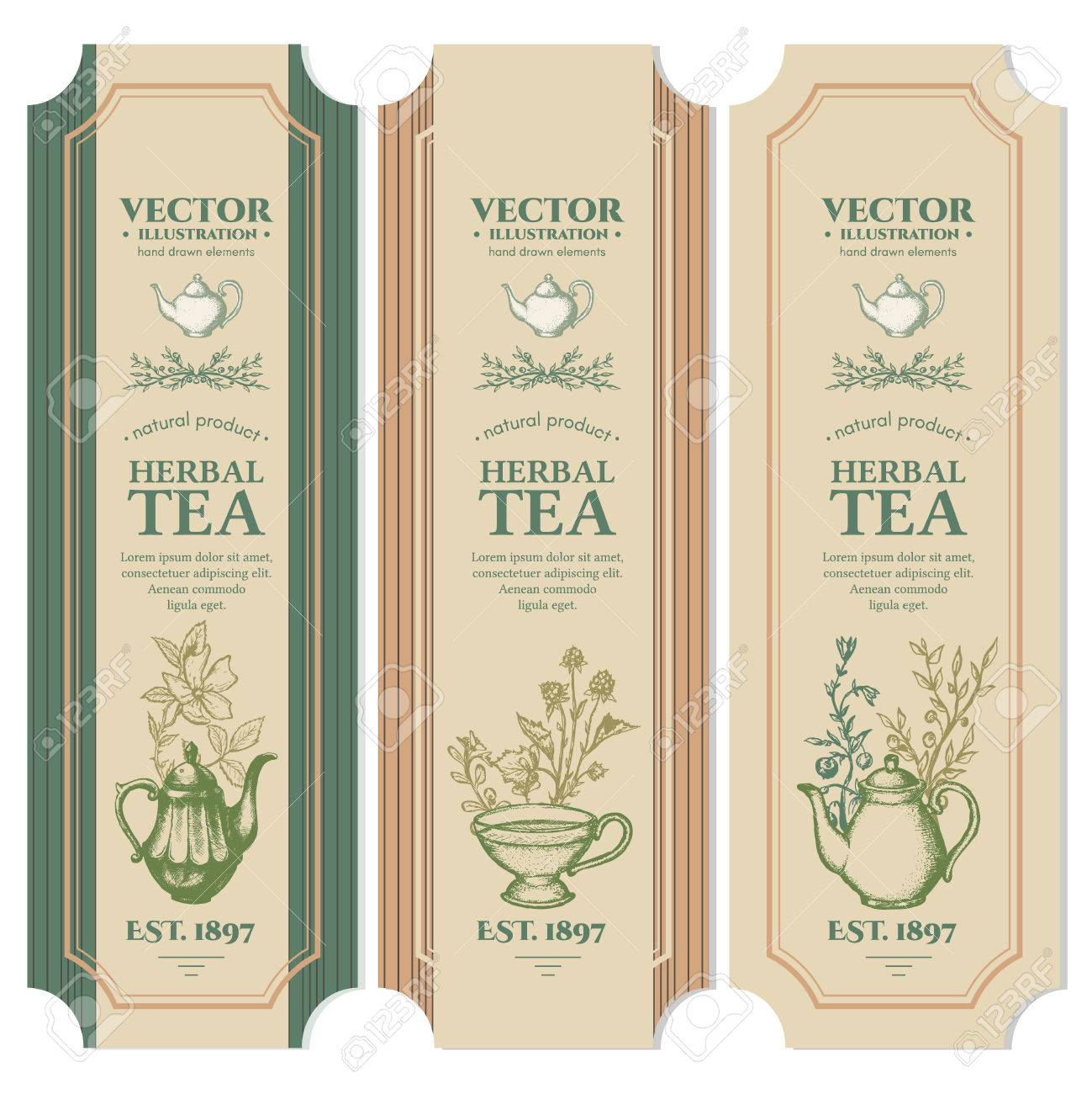 Labels Herbal tea design ink hand drawn vector - 63050074
