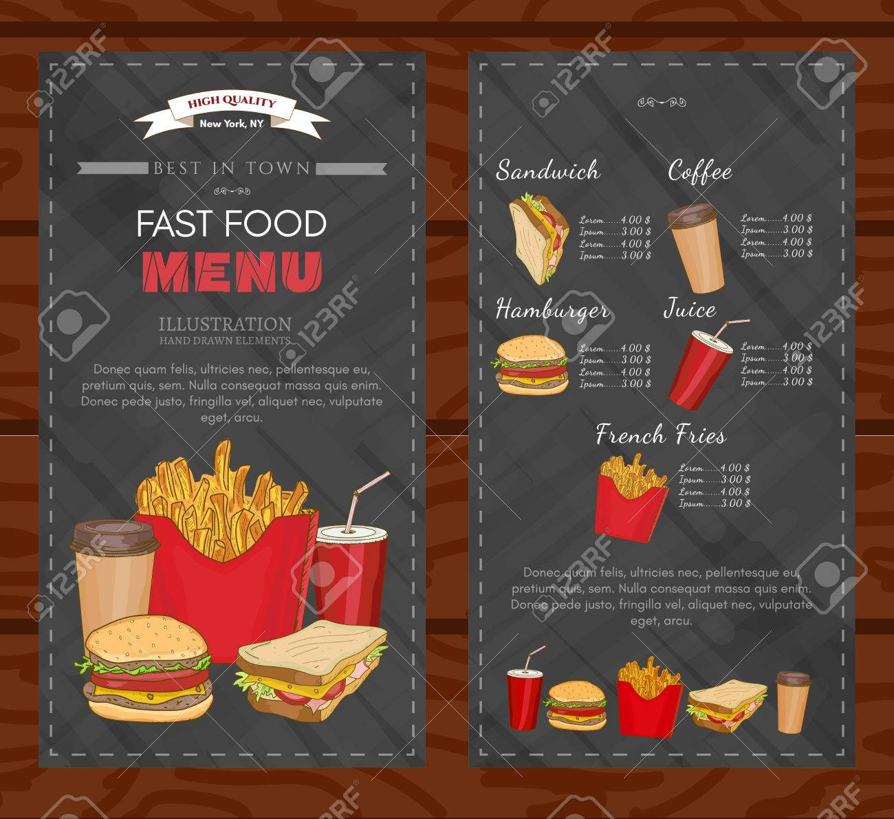 fast food cover design template fast food menu vector royalty free