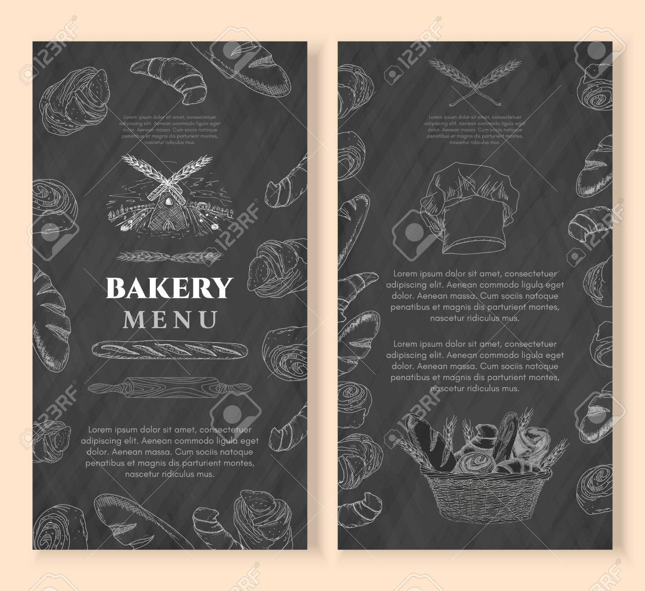 Bakery Design Template Chalkboard Vintage Style. Baking Products ...