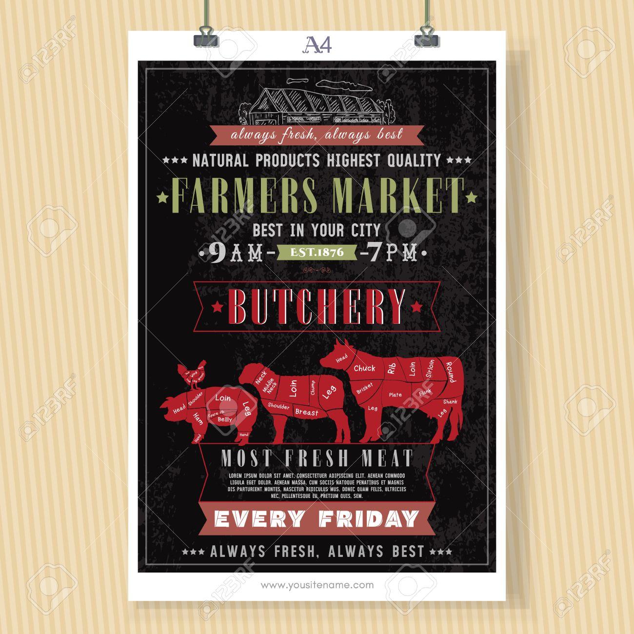 Butcher Shop Vintage Signboard Template. Fresh Meat Beef, Pork ...