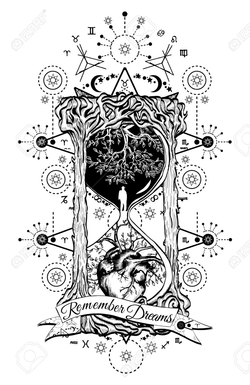Tree And Heart In Hourglass Symbol Of Life And Death, Mystical ...
