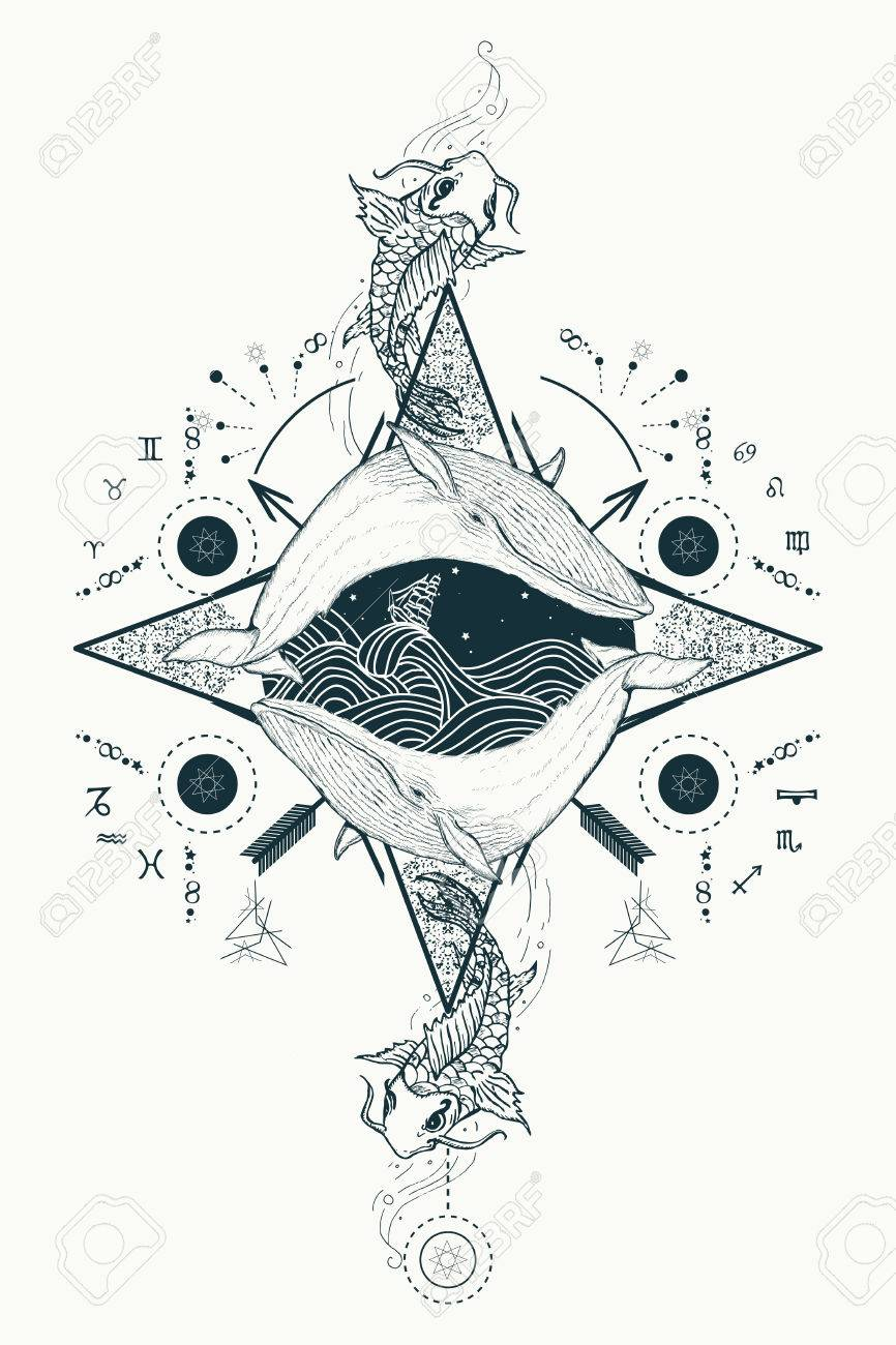 Two whales in sea wind rose compass mystical tattoo vector. Japanese carp in water tattoo. Travel, adventure, outdoors, tattoo symbol. Whale tattoo for hipsters, travelers. Storm at sea marine tattoo - 69103259