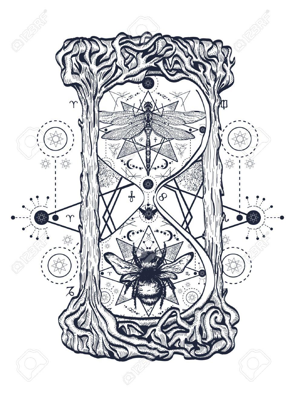 Abeja Y Libélula En El Reloj De Arena Tatuaje Mística Dibujado A Mano Símbolos Místicos E Insectos Libélula Y Boceto De Abeja Tatuaje Alchemy